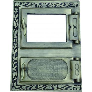 Litinový kamnový štít RITA - mosaz-patina