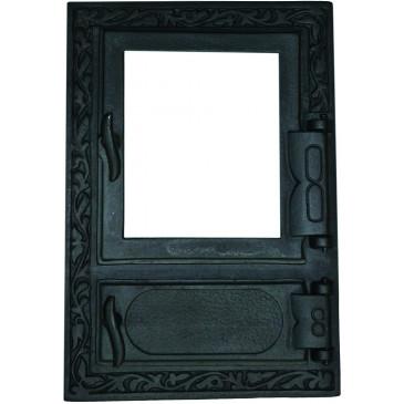 Litinový kamnový štít hermetický prosklený HANA - černý