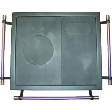Rám ocelový - černý s litinovou plotnou - 630 x 550